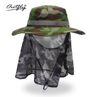 可收纳护脖迷彩帽360度包围透气军迷防晒防蚊钓鱼丛林帽蚊帐